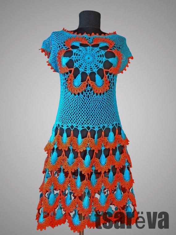 355de91f0b2 Crochet robe de paon Royal. Coton biologique au crochet robe