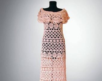 Crochet dress Rachel. Peache delicate charm women flower organic cotton bohemian crochet dress. Made to order. Free shipping.