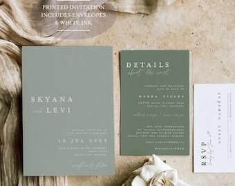 Sage Green - White Ink - Dusty Green Wedding - Modern Wedding Invitation - Greenery Wedding - Forest Wedding - Printed Invitation