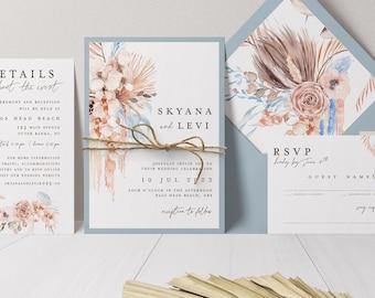 Dusty Blue Wedding Invitation - Beach Wedding - Blue Beach Wedding - Natural Wedding - Boho Beach Wedding - Printed Wedding Invitation
