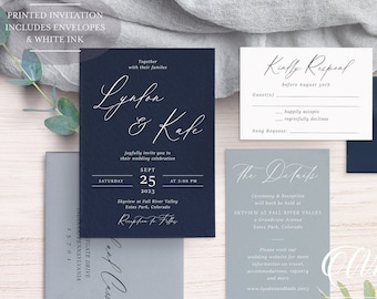 WHITE INK Printed - Navy and Dusty Blue Wedding Invitations - Navy and Dusty Blue Wedding Invitation - Navy Blue Wedding - Modern Wedding