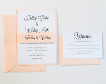 Pink Wedding Invitation, Blush wedding invitation, shimmer wedding invitation, Elegant wedding, Modern script wedding invitation