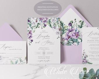 PRINTED Wedding Invitation - Lavender Wedding - Purple Wedding - Orchid Wedding - Greenery Wedding - Purple Orchid Wedding - Eucalyptus