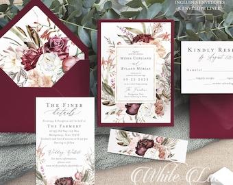 PRINTED Burgundy Wedding Invitation - Burgundy and Sage - Mauve Wedding - Dusty Rose Wedding - Greenery Wedding - Wedding Invitation Bundle