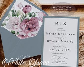 Dusty Blue Wedding Invitation - Dusty Blue and Mauve - Mauve Wedding - Dusty Rose Wedding - Greenery Wedding - Printed Invitations