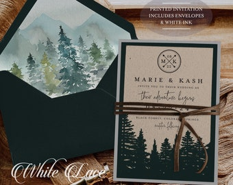 White Ink - Mountain Wedding Invitation - Rustic Wedding - Forest Wedding Invitation - Greenery Wedding - Laser Cut - Printed Invitation