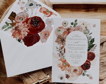 Printed Wedding Invitations - Burgundy Wedding - Terracotta Wedding Invitation - Burgundy Flowers - Rustic Wedding - Outdoor Wedding