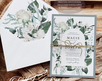 PRINTED Dusty Blue Wedding Invitation - Greenery Wedding - Sage Green Wedding - Boho Wedding - Romantic Wedding - Rustic Wedding - Modern