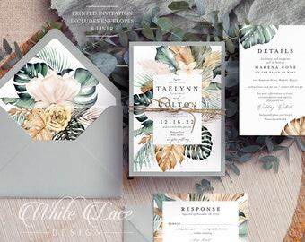 Printed Wedding Invitations - Beach Wedding Invitation - Monstera Leaf - Tropical Wedding - Greenery Wedding-Palm Leaf - Green Beach Wedding