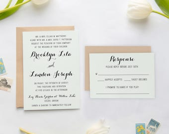 Rustic Wedding Invitations, Country Wedding Invitations, Green Wedding, Natural Wedding Invitations, Recycled Kraft Wedding Invitations 062