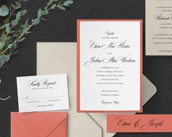 Coral Wedding Invitation Etsy