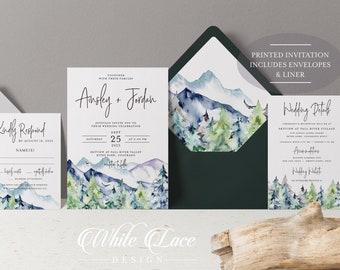 PRINTED Wedding Invitations - Forest Wedding Invitation - Mountain Wedding Invitation - Modern Wedding - Dark Green Wedding - Envelope Liner