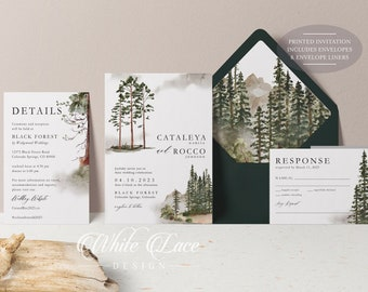 PRINTED Forest Wedding Invitation - Mountain Wedding Invitation - Watercolor Forest - Rustic Wedding - Greenery Wedding - Watercolor Forest