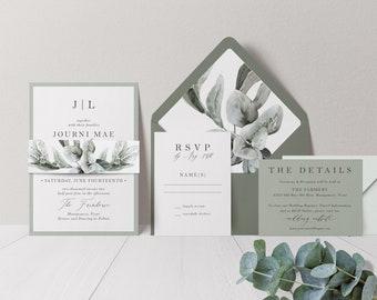 Sage Green Wedding Invitation - Sage and White Wedding - Eucalyptus Wedding - Green Wedding - Natural Wedding - Greenery Wedding - Printed