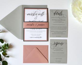 Wedding Invitations, Grey and Dusty Rose, Mauve, Grey and Pink wedding invitations - Mariska