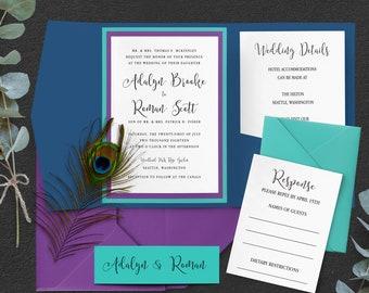 Peacock wedding invitations  10128e072dfa