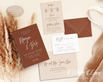 Terracotta Wedding Invitation - Rust Wedding - Burnt Orange - Modern Wedding - Minimalist Wedding - White Ink - Printed Invitation