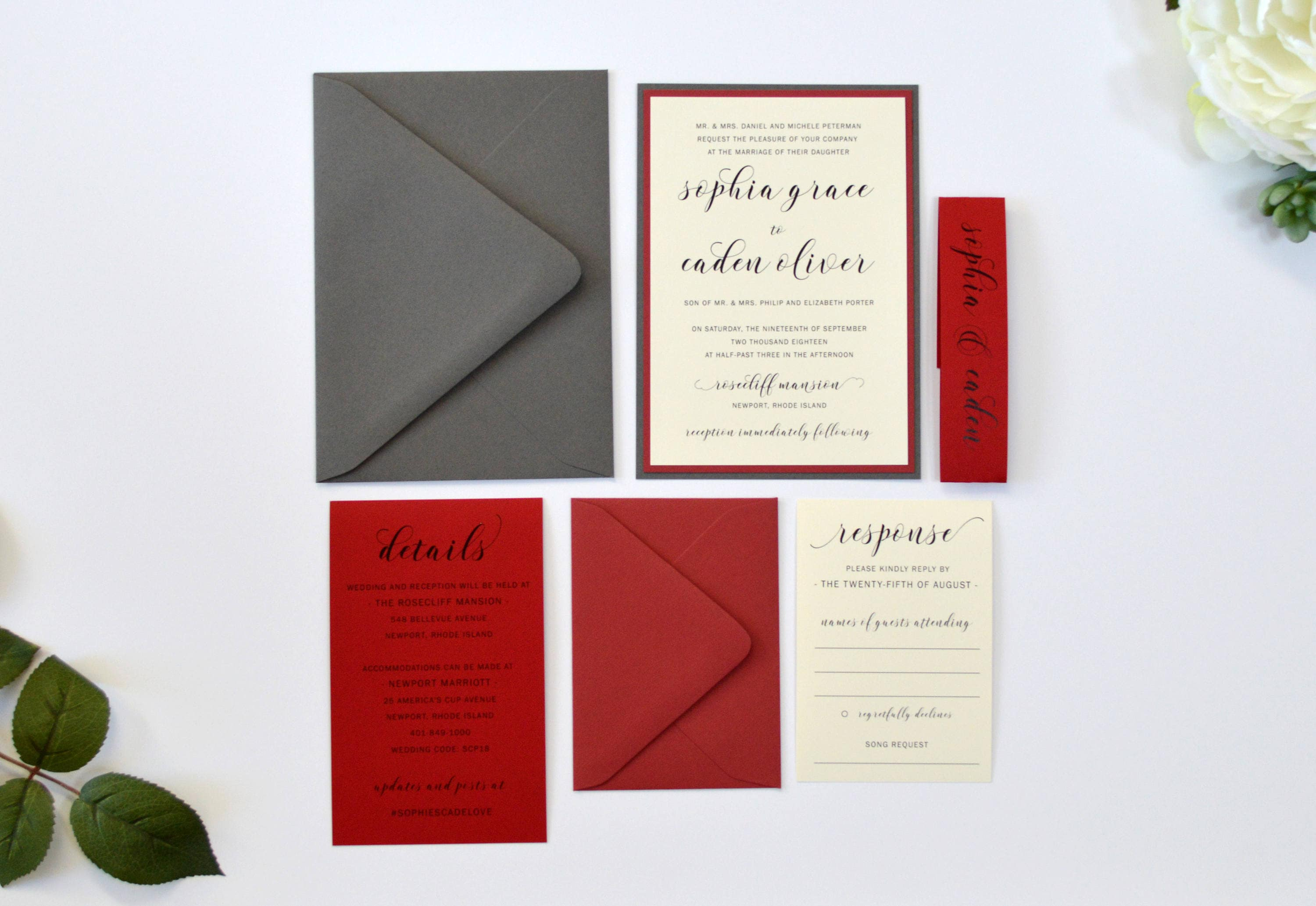Scarlet Wedding Invitations Sophia Layered Invitation Suite | Etsy