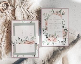 Dusty Rose Wedding Invitation - Sage Green Wedding - Eucalyptus Wedding - Flower Wedding - Natural Wedding - Greenery Wedding - Printed