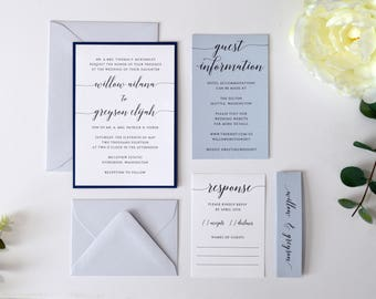 Navy Blue and Gray Wedding Invitation Suite, Navy Blue Wedding Invitation, Modern, Blues and Grays, Grey, Stacked