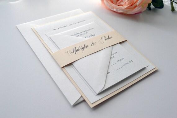 soft blush wedding invitations maleigha layered invitation etsy