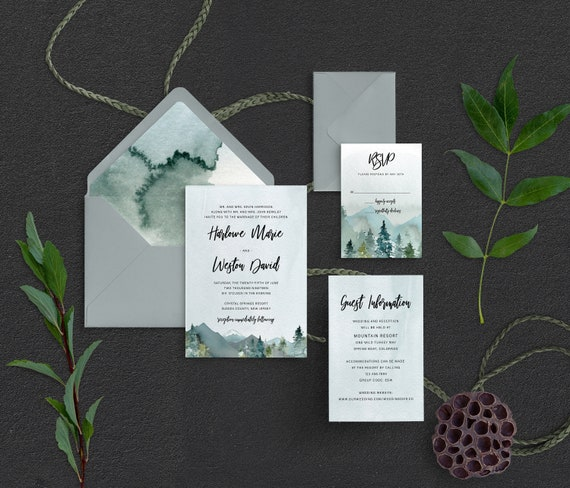 Wanderlust Save The Date Wedding Announcement Mountain Forest Boho Chic Invitation Invite bohemian gypsy soul destination woodland