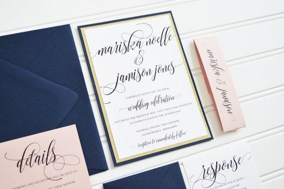 navy and glitter wedding invitations mariska layered etsy