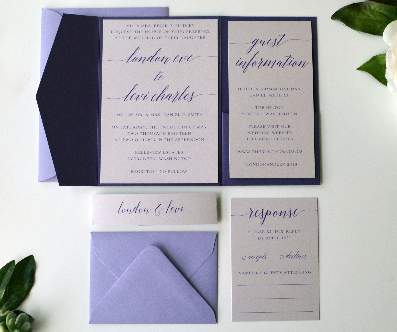 Purple Wedding Invitation Wedding Invitation Pocketfold