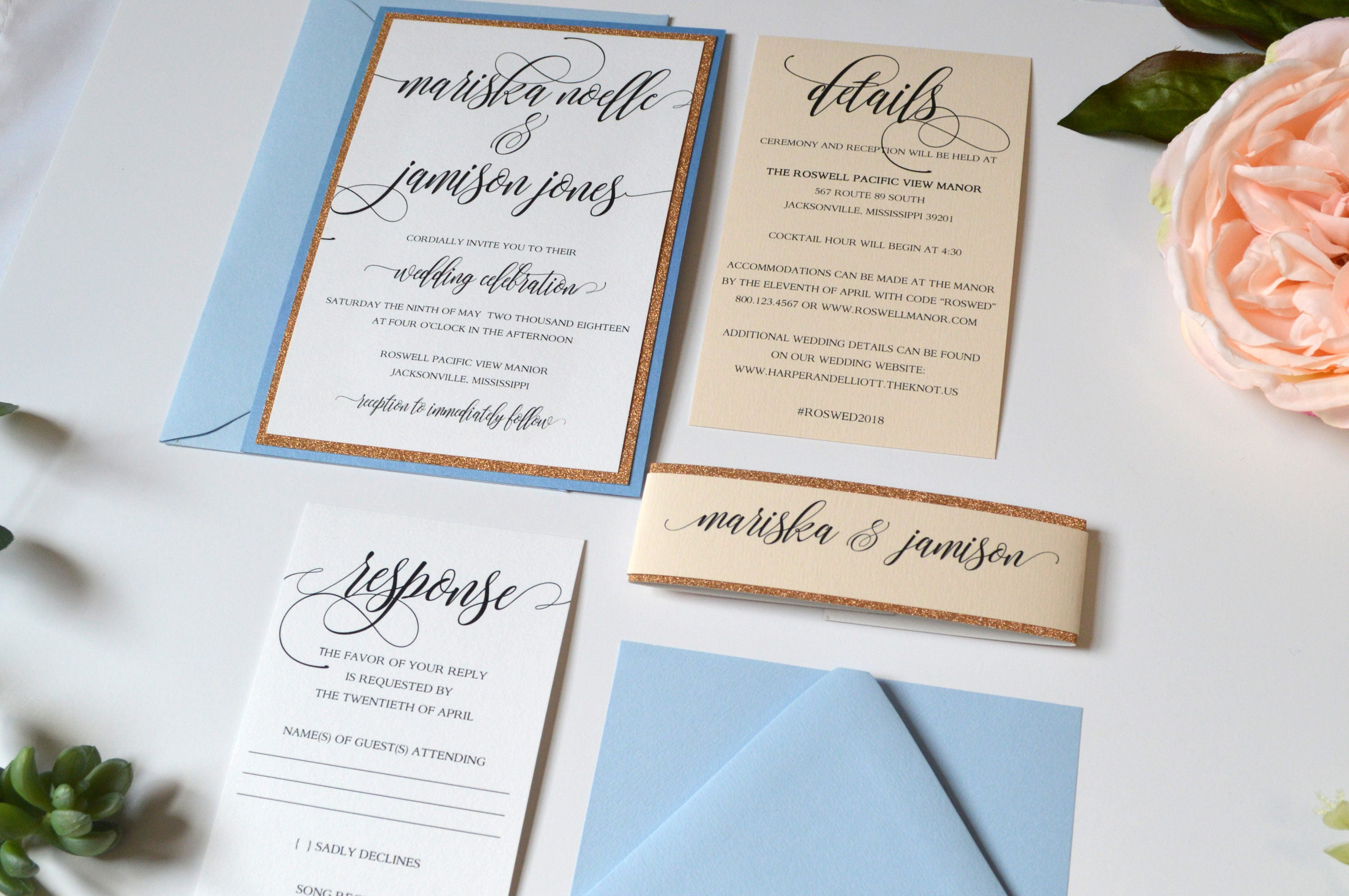 Rose Gold Wedding Invitations Blue and Rose Gold Wedding