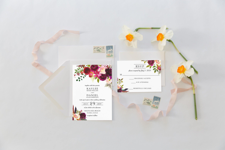 Wedding Invitation Suite Wedding Invitations Burgundy