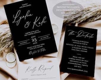 White Ink - Black Wedding Invitation - Black and White Wedding - Simple Wedding - Modern Wedding - Minimalist Wedding - Printed Invitation