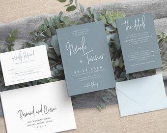 Dusty Blue White Ink Wedding - Slate Blue Wedding - Modern Wedding Invitation - Blue Wedding - Grey Blue Wedding - Printed Invitation