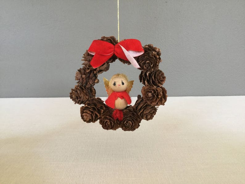 Angels Natural Materials Christmas Angel Vintage Ornaments Pinecone Wreath Christmas Ornament Red Bow Ornament