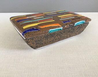 Vintage Italian Ceramic Box - Bitossi Style Clay Box - Trinket Box - Jewelry Box - 167 Italy - Italian Pottery - Italian Clay Box with Lid