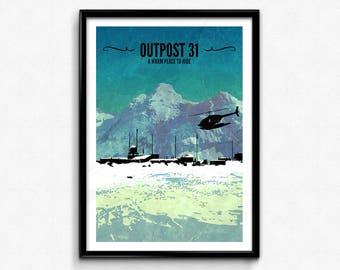 The Thing Travel Poster/Print - Outpost 31 Poster/Print - The Thing John Carpenter, Kurt Russell, Horror Print, Scifi Print, CtrlAltGeek