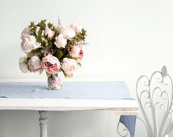 Light Blue Natural Linen Table Runner - Christmas Table Decor