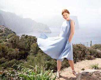 Light blue linen dress - Elegant women linen dress - Linen summer dress with pockets