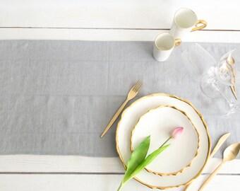 Silver Table Runner handmade of natural Linen- Wedding Table Decor
