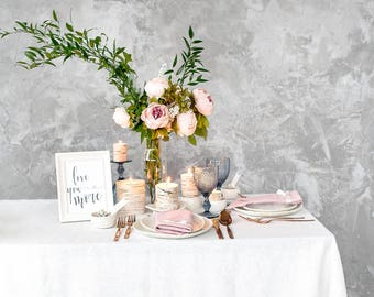 White tablecloth for Wedding table top made of Baltic linen - Restaurant table top - Dining table imagination