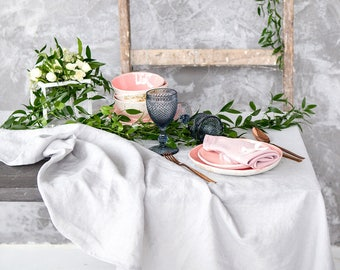Silver Grey Tablecloth for Dining Table  - Linen tablecloth - Natural tablecloth in many colours and sizes