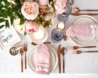 Blush Pink napkins set made of Natural Linen, perfect as wedding napkins