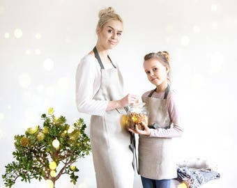 Cooking aprons set for Mother and Daughter made of Natural linen with adjustable straps, Neutral foodie gift