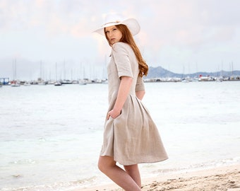 Casual summer dress with short sleeves and pockets - Perfect beach dresses for woman in different colors