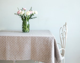 Linen Tablecloth - Dining tablecloth - Stone washed tablecloth - Grey polka dot tablecloth - Rustic Table top