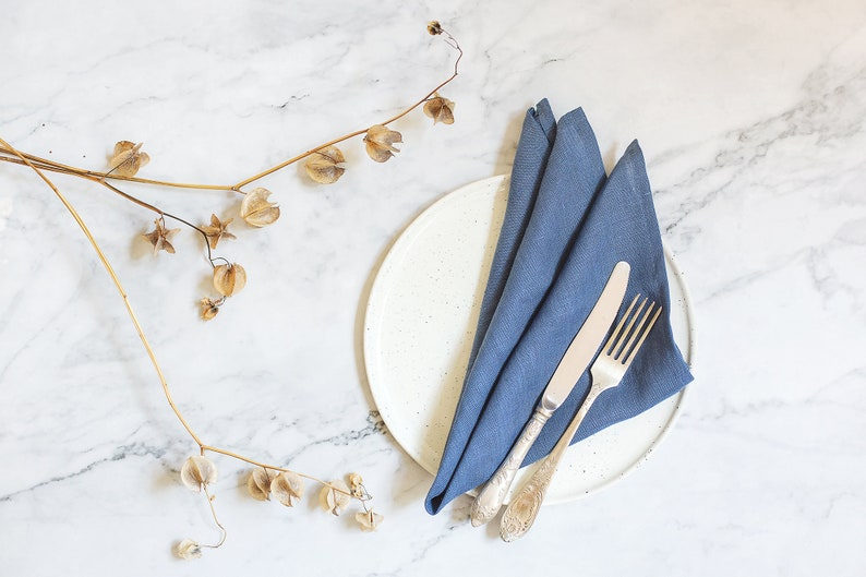 Blue linen napkins for your dining table decor set of 6 image 0