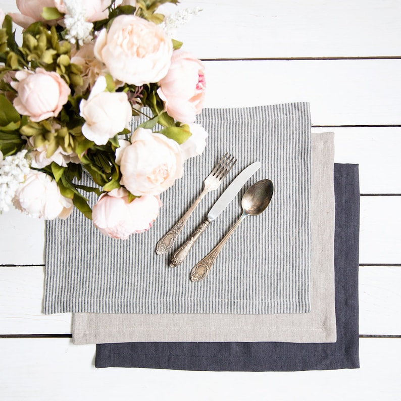 Natural Placemats set of 6 made of natural flax and softened  image 0