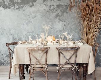 Natural linen tablecloth, Soft handmade tablecloth, Natural grey table cloth, Minimalistic rustic linen tablecloth