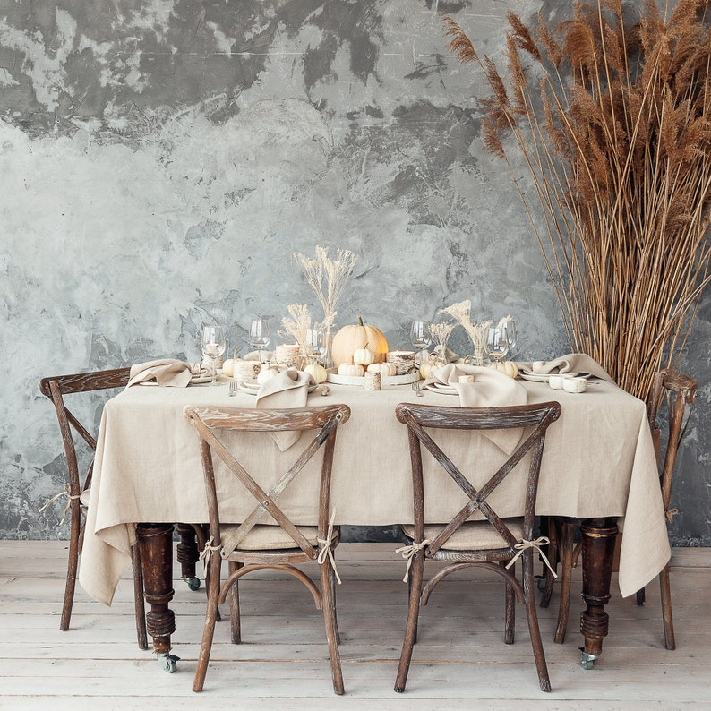 Natural grey tablecloth made of natural and softened linen image 0