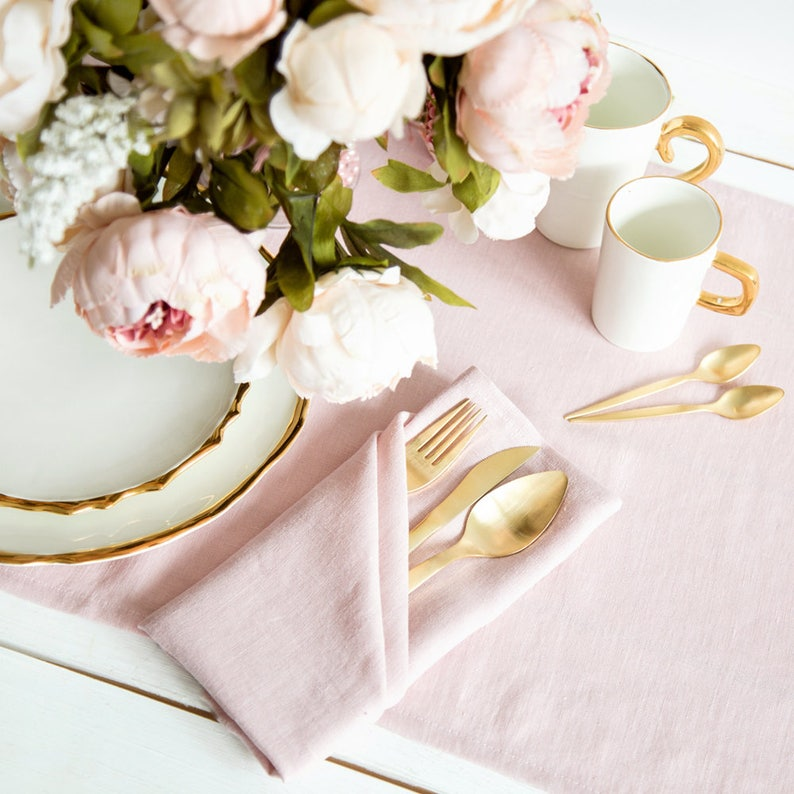 Softened Pink Linen Napkins set of 6 perfect as wedding image 0