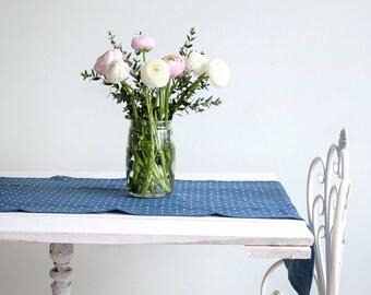 Blue Softened Linen Table Runner with white polka dots